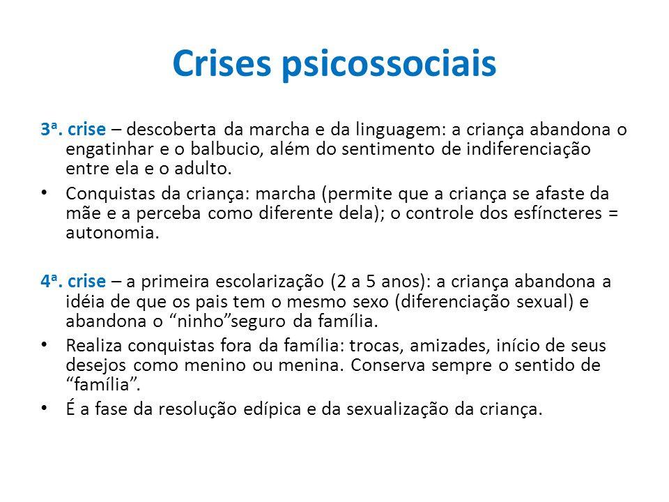 Crises psicossociais 3 a. crise – descoberta da marcha e da linguagem: a criança abandona o engatinhar e o balbucio, além do sentimento de indiferenci
