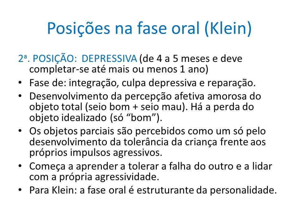 Posições na fase oral (Klein) 2 a. POSIÇÃO: DEPRESSIVA (de 4 a 5 meses e deve completar-se até mais ou menos 1 ano) Fase de: integração, culpa depress