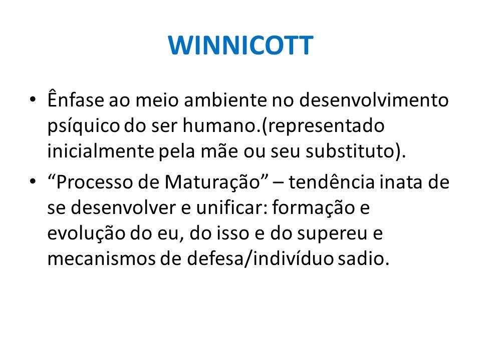 WINNICOTT Ênfase ao meio ambiente no desenvolvimento psíquico do ser humano.(representado inicialmente pela mãe ou seu substituto). Processo de Matura
