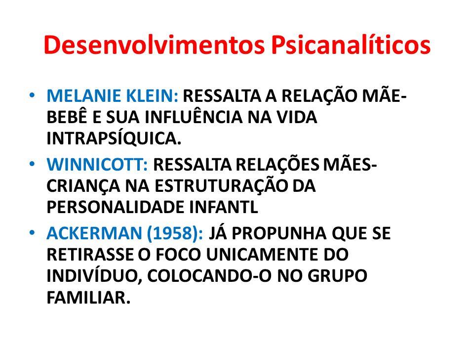 Desenvolvimentos Psicanalíticos MELANIE KLEIN: RESSALTA A RELAÇÃO MÃE- BEBÊ E SUA INFLUÊNCIA NA VIDA INTRAPSÍQUICA. WINNICOTT: RESSALTA RELAÇÕES MÃES-