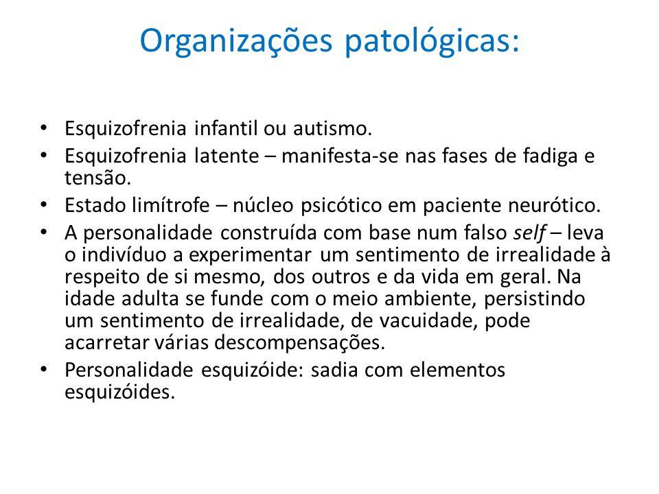 Organizações patológicas: Esquizofrenia infantil ou autismo. Esquizofrenia latente – manifesta-se nas fases de fadiga e tensão. Estado limítrofe – núc