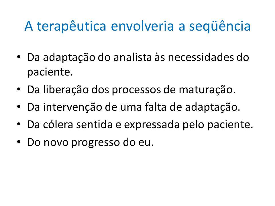 A terapêutica envolveria a seqüência Da adaptação do analista às necessidades do paciente. Da liberação dos processos de maturação. Da intervenção de