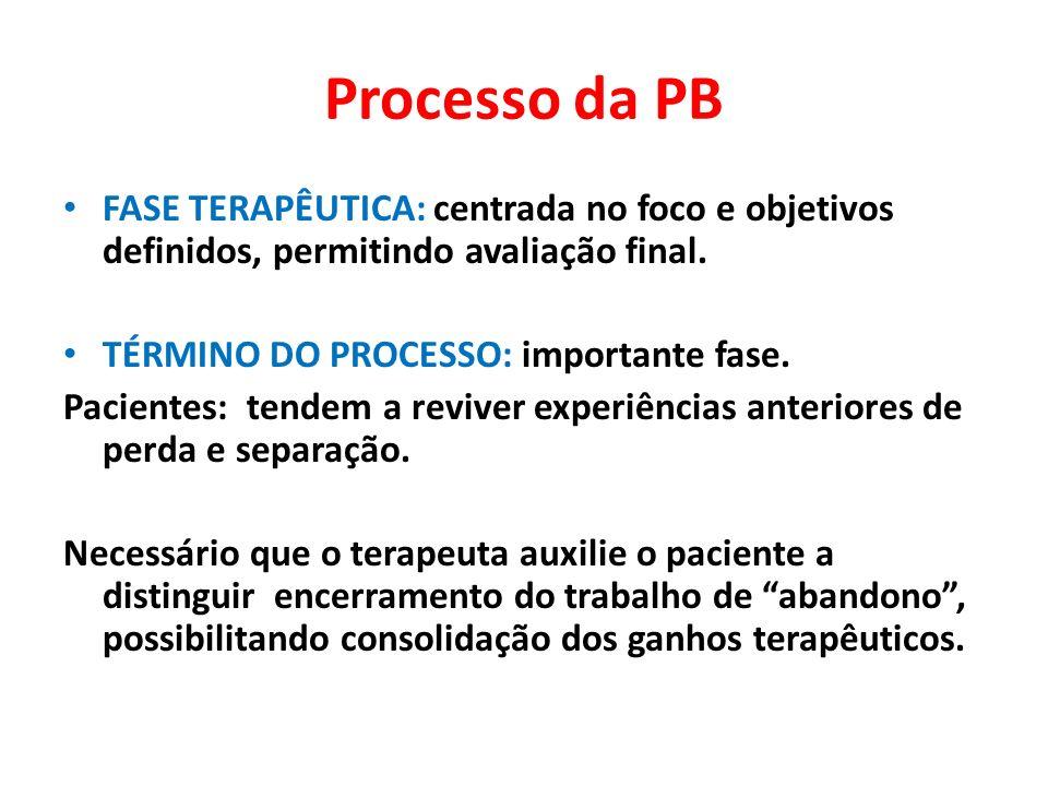 Processo da PB FASE TERAPÊUTICA: centrada no foco e objetivos definidos, permitindo avaliação final. TÉRMINO DO PROCESSO: importante fase. Pacientes:
