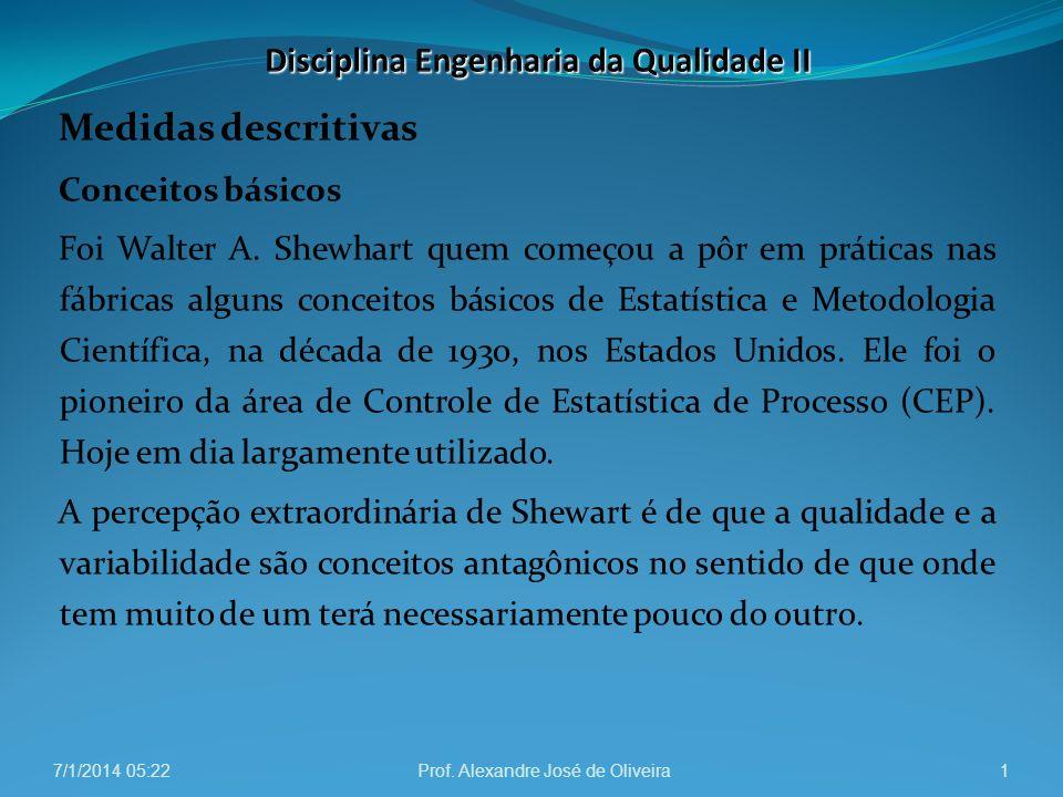 Medidas descritivas Conceitos básicos Foi Walter A. Shewhart quem começou a pôr em práticas nas fábricas alguns conceitos básicos de Estatística e Met