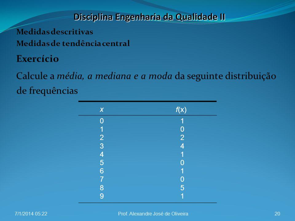 Medidas descritivas Medidas de tendência central Exercício Calcule a média, a mediana e a moda da seguinte distribuição de frequências 7/1/2014 05:24P