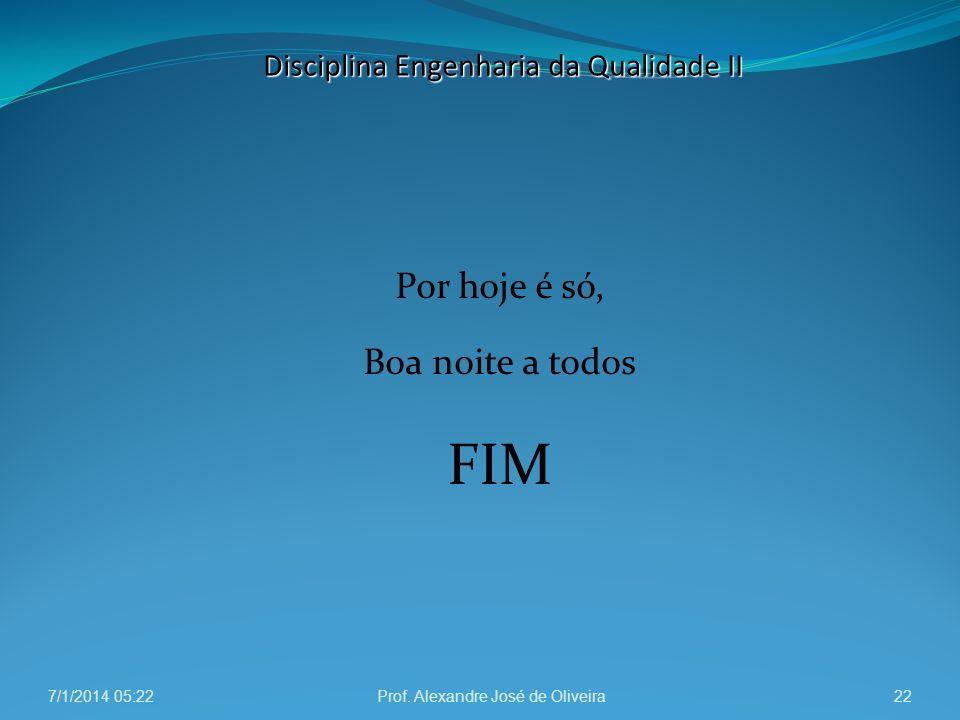 Por hoje é só, Boa noite a todos FIM 7/1/2014 05:24Prof. Alexandre José de Oliveira22 Disciplina Engenharia da Qualidade II