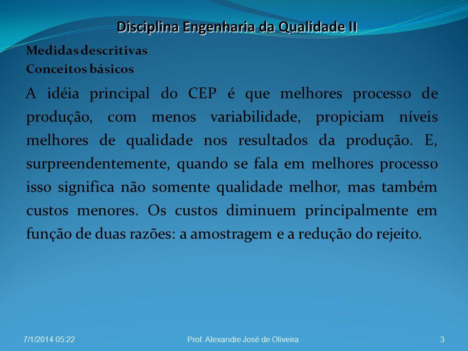 Medidas descritivas Conceitos básicos A idéia principal do CEP é que melhores processo de produção, com menos variabilidade, propiciam níveis melhores