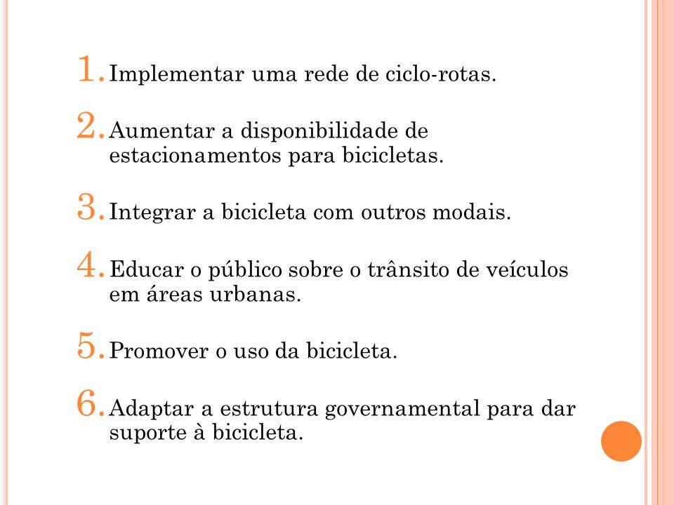 1. Implementar uma rede de ciclo-rotas. 2. Aumentar a disponibilidade de estacionamentos para bicicletas. 3. Integrar a bicicleta com outros modais. 4