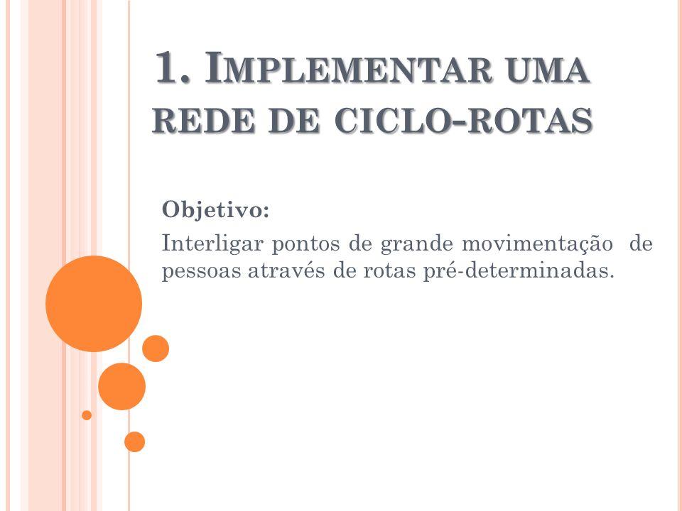 1. I MPLEMENTAR UMA REDE DE CICLO - ROTAS Objetivo: Interligar pontos de grande movimentação de pessoas através de rotas pré-determinadas.