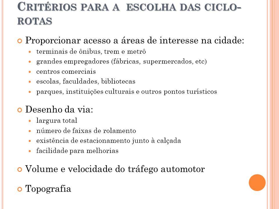 C RITÉRIOS PARA A ESCOLHA DAS CICLO - ROTAS Proporcionar acesso a áreas de interesse na cidade: terminais de ônibus, trem e metrô grandes empregadores