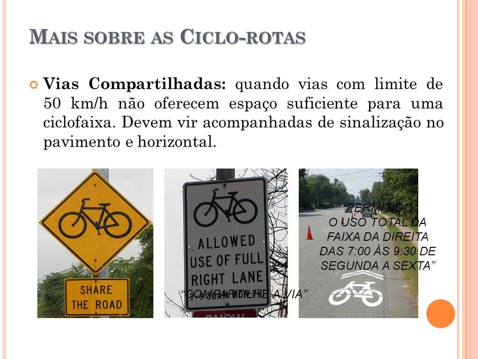 M AIS SOBRE AS C ICLO - ROTAS Vias Compartilhadas: quando vias com limite de 50 km/h não oferecem espaço suficiente para uma ciclofaixa. Devem vir aco