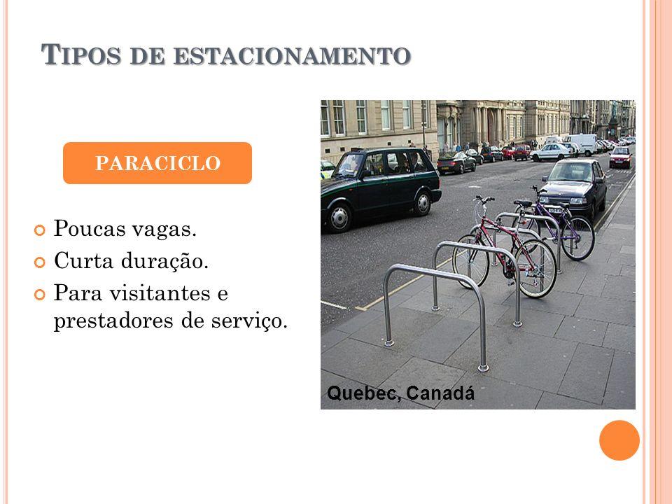 T IPOS DE ESTACIONAMENTO PARACICLO Poucas vagas. Curta duração. Para visitantes e prestadores de serviço. Quebec, Canadá