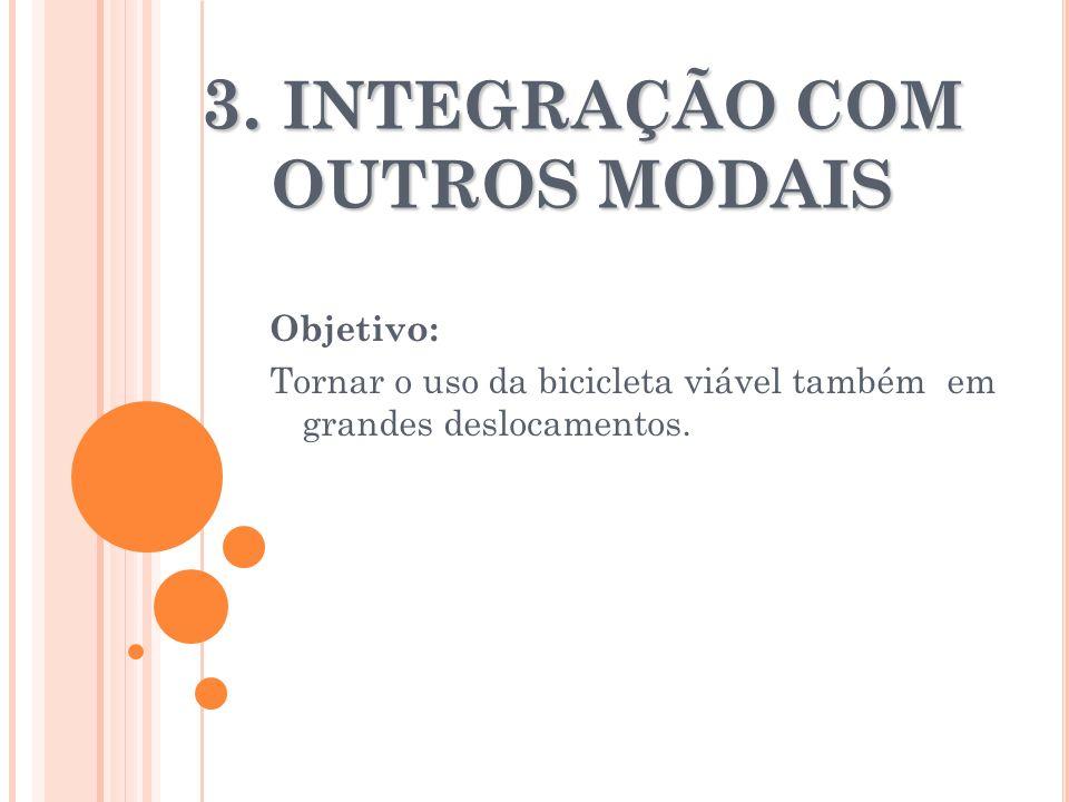 3. INTEGRAÇÃO COM OUTROS MODAIS Objetivo: Tornar o uso da bicicleta viável também em grandes deslocamentos.
