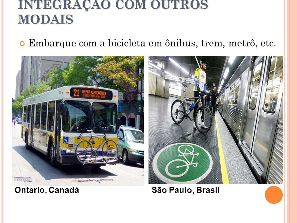 INTEGRAÇÃO COM OUTROS MODAIS Embarque com a bicicleta em ônibus, trem, metrô, etc. Ontario, CanadáSão Paulo, Brasil