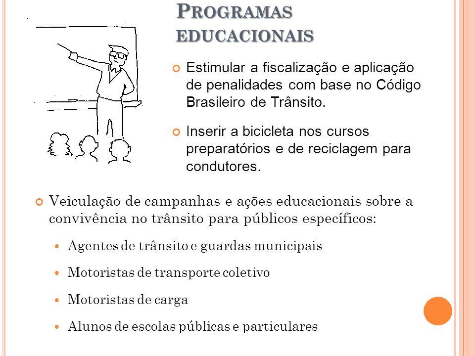 P ROGRAMAS EDUCACIONAIS Veiculação de campanhas e ações educacionais sobre a convivência no trânsito para públicos específicos: Agentes de trânsito e