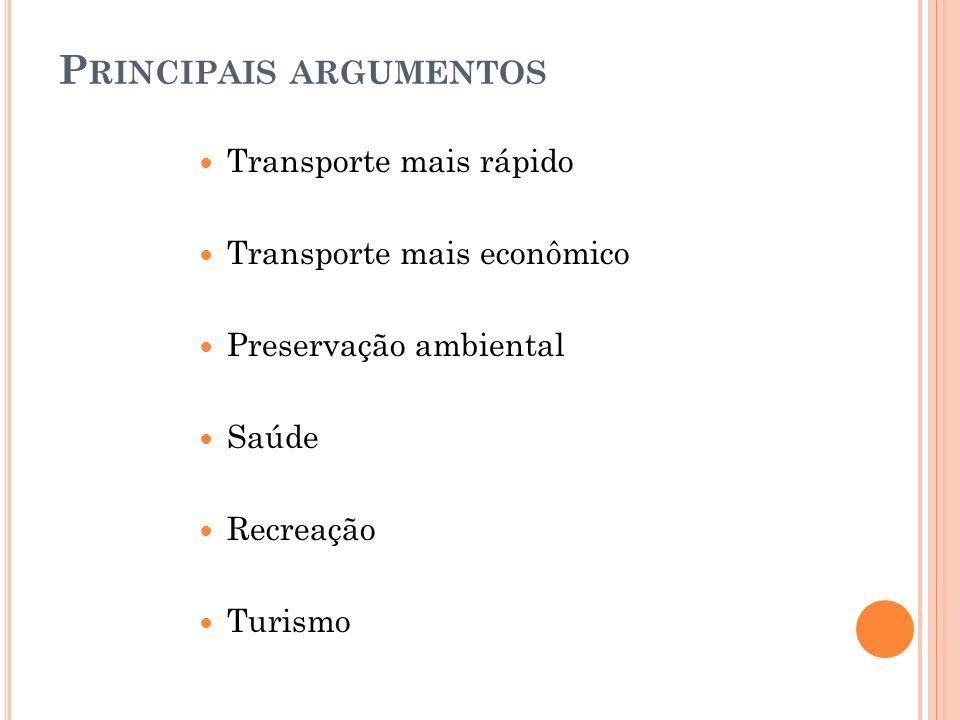 P RINCIPAIS ARGUMENTOS Transporte mais rápido Transporte mais econômico Preservação ambiental Saúde Recreação Turismo