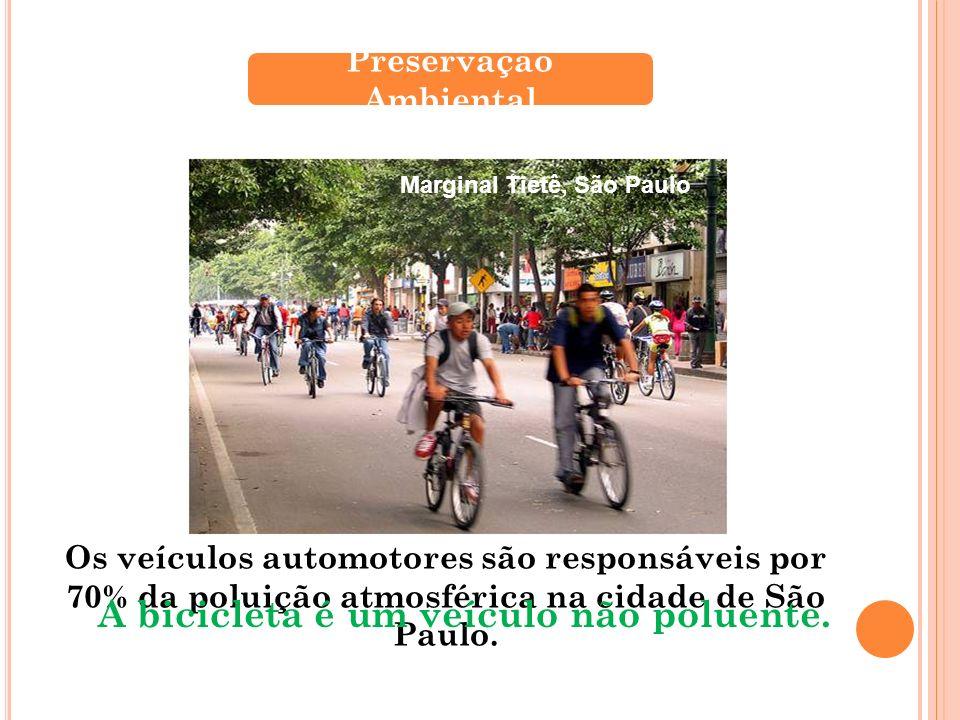 Os veículos automotores são responsáveis por 70% da poluição atmosférica na cidade de São Paulo. Preservação Ambiental A bicicleta é um veículo não po