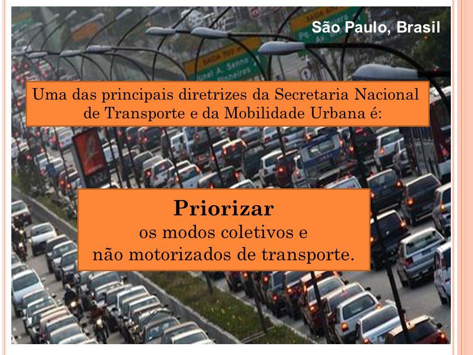 Uma das principais diretrizes da Secretaria Nacional de Transporte e da Mobilidade Urbana é: Priorizar os modos coletivos e não motorizados de transpo