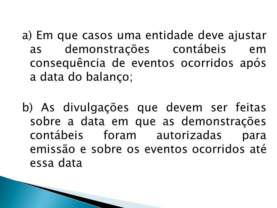 a) Em que casos uma entidade deve ajustar as demonstrações contábeis em consequência de eventos ocorridos após a data do balanço; b) As divulgações qu