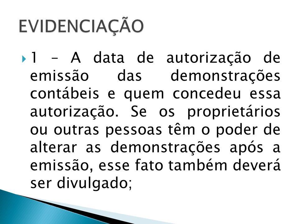 1 – A data de autorização de emissão das demonstrações contábeis e quem concedeu essa autorização. Se os proprietários ou outras pessoas têm o poder d