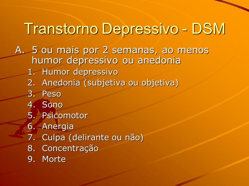 Transtorno Depressivo - DSM A.5 ou mais por 2 semanas, ao menos humor depressivo ou anedonia 1.Humor depressivo 2.Anedonia (subjetiva ou objetiva) 3.P