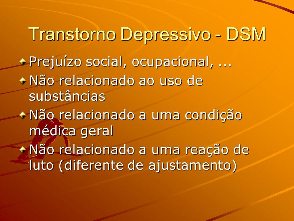 Transtorno Depressivo - DSM Prejuízo social, ocupacional,... Não relacionado ao uso de substâncias Não relacionado a uma condição médica geral Não rel