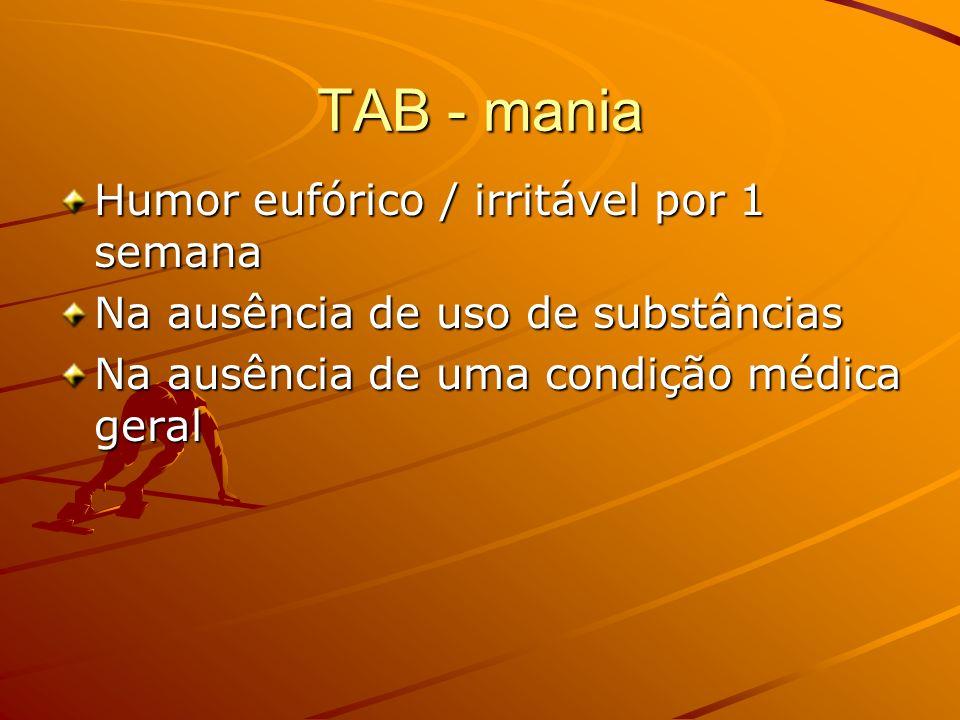TAB - mania Humor eufórico / irritável por 1 semana Na ausência de uso de substâncias Na ausência de uma condição médica geral