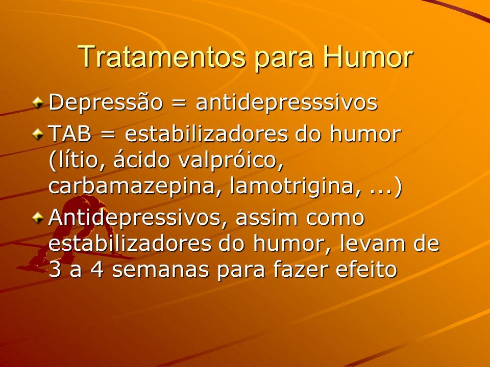 Tratamentos para Humor Depressão = antidepresssivos TAB = estabilizadores do humor (lítio, ácido valpróico, carbamazepina, lamotrigina,...) Antidepres