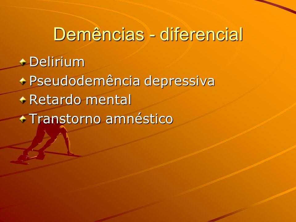 Demências - diferencial Delirium Pseudodemência depressiva Retardo mental Transtorno amnéstico