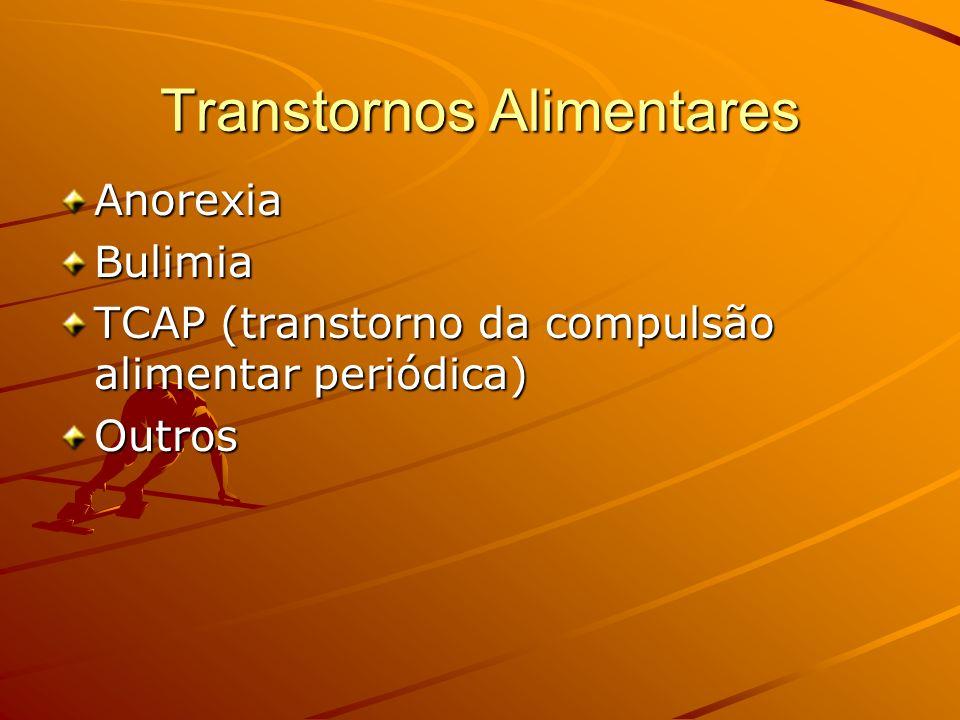 Transtornos Alimentares AnorexiaBulimia TCAP (transtorno da compulsão alimentar periódica) Outros