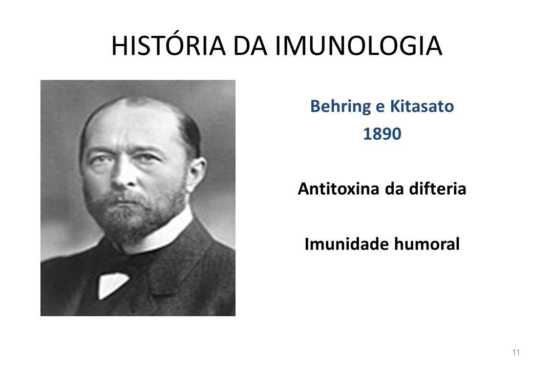 HISTÓRIA DA IMUNOLOGIA Behring e Kitasato 1890 Antitoxina da difteria Imunidade humoral 11