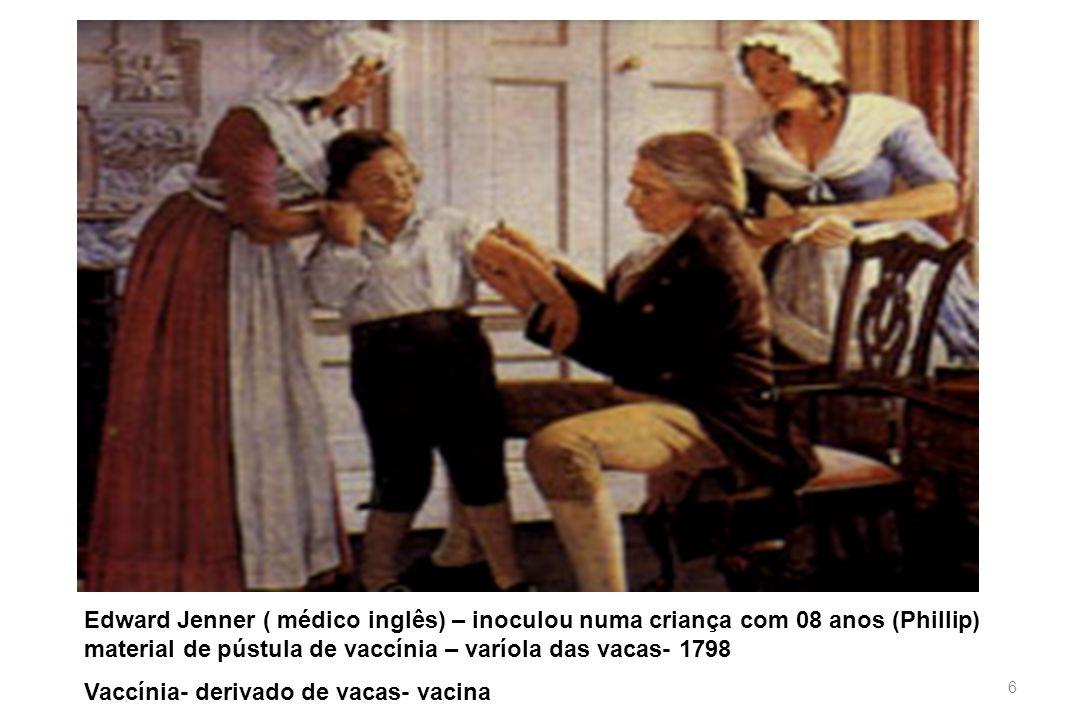 6 Edward Jenner ( médico inglês) – inoculou numa criança com 08 anos (Phillip) material de pústula de vaccínia – varíola das vacas- 1798 Vaccínia- der