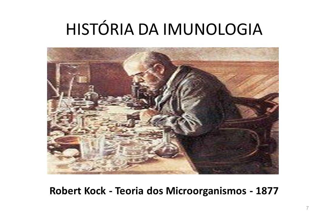 HISTÓRIA DA IMUNOLOGIA Robert Kock - Teoria dos Microorganismos - 1877 7