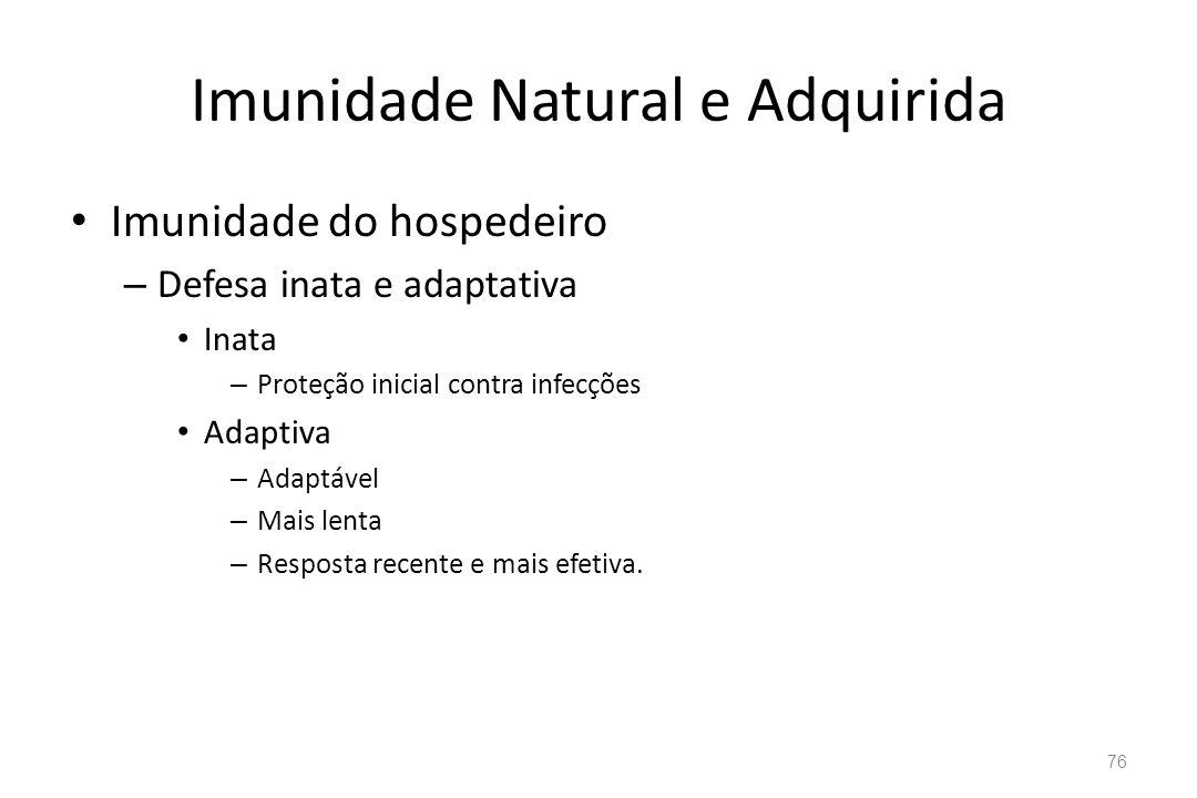 Imunidade Natural e Adquirida Imunidade do hospedeiro – Defesa inata e adaptativa Inata – Proteção inicial contra infecções Adaptiva – Adaptável – Mai