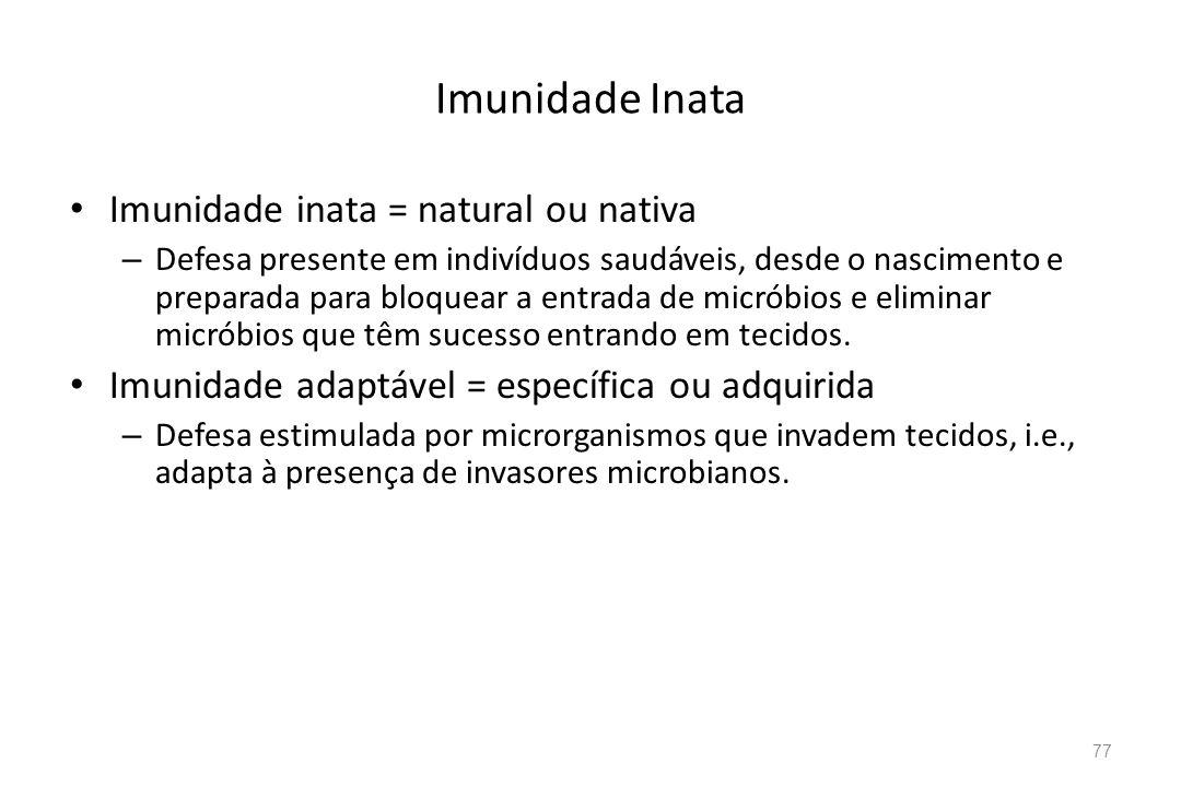 Imunidade Inata Imunidade inata = natural ou nativa – Defesa presente em indivíduos saudáveis, desde o nascimento e preparada para bloquear a entrada