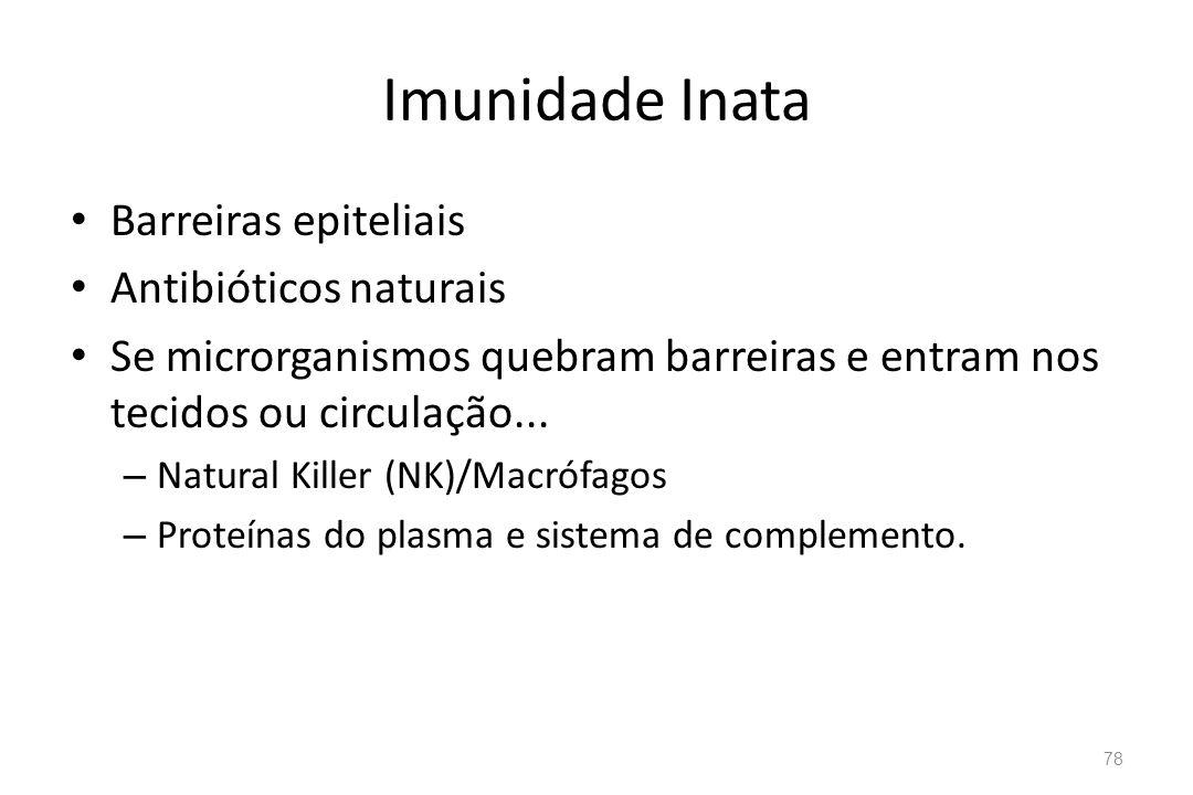 Imunidade Inata Barreiras epiteliais Antibióticos naturais Se microrganismos quebram barreiras e entram nos tecidos ou circulação... – Natural Killer
