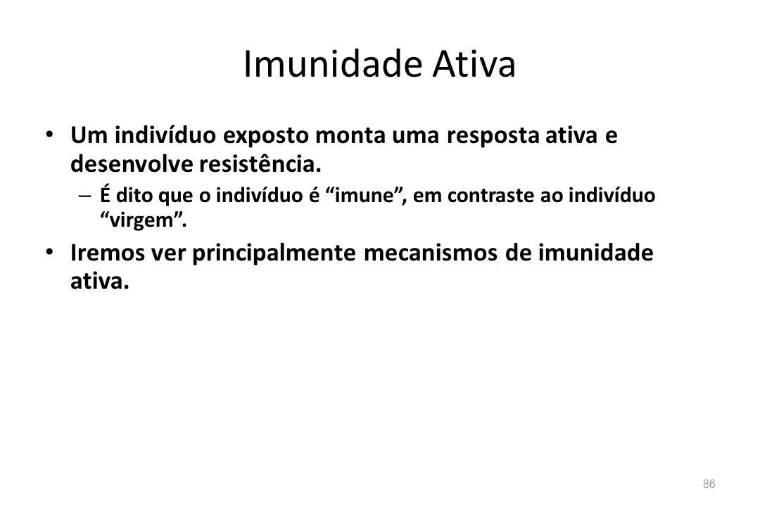 Imunidade Ativa Um indivíduo exposto monta uma resposta ativa e desenvolve resistência. – É dito que o indivíduo é imune, em contraste ao indivíduo vi