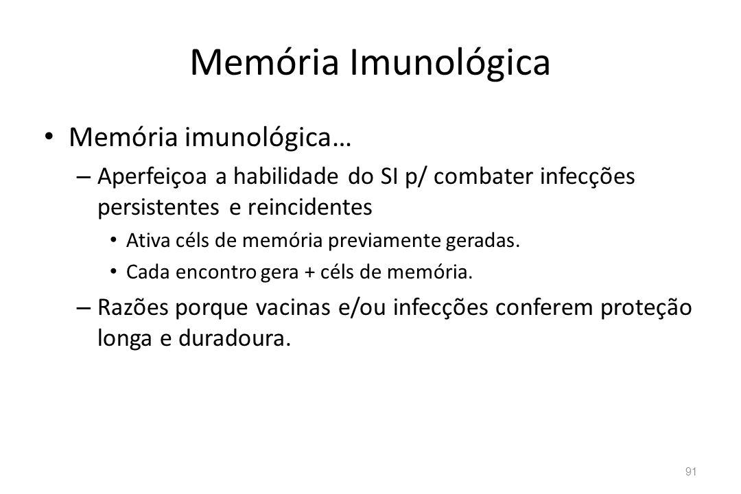 Memória Imunológica Memória imunológica… – Aperfeiçoa a habilidade do SI p/ combater infecções persistentes e reincidentes Ativa céls de memória previ