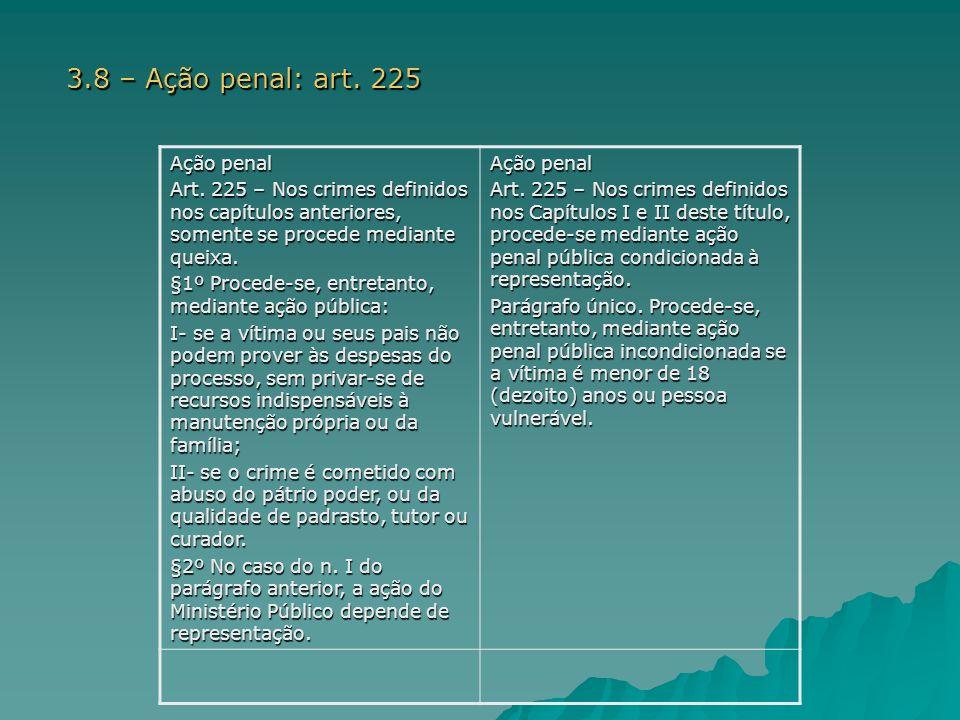 a) Antes da reforma: - Regra: ação penal privada.Caput: queixa -Exceções: §§1º e 2º.