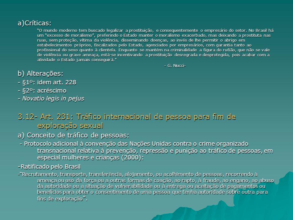 Tráfico internacional de pessoas Art.231.