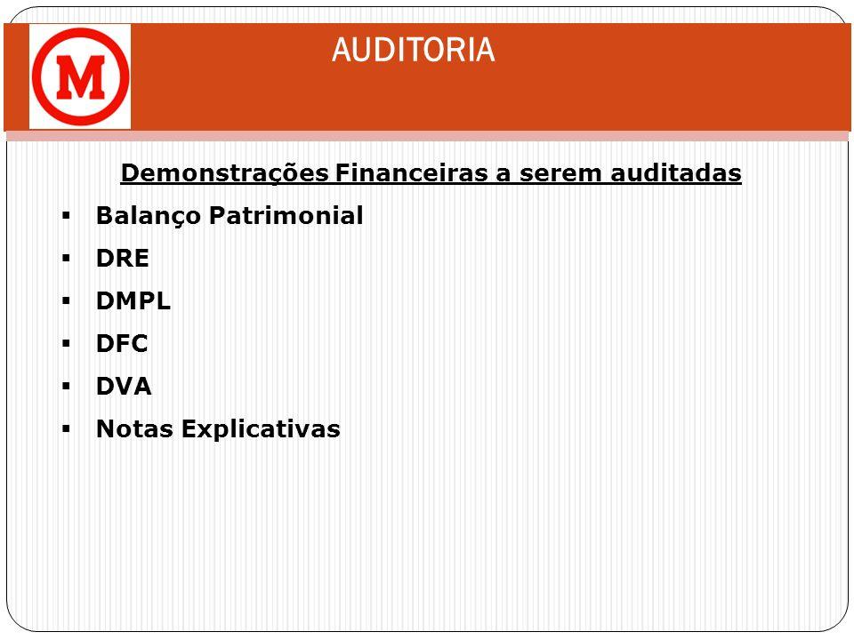 AUDITORIA Demonstrações Financeiras a serem auditadas Balanço Patrimonial DRE DMPL DFC DVA Notas Explicativas