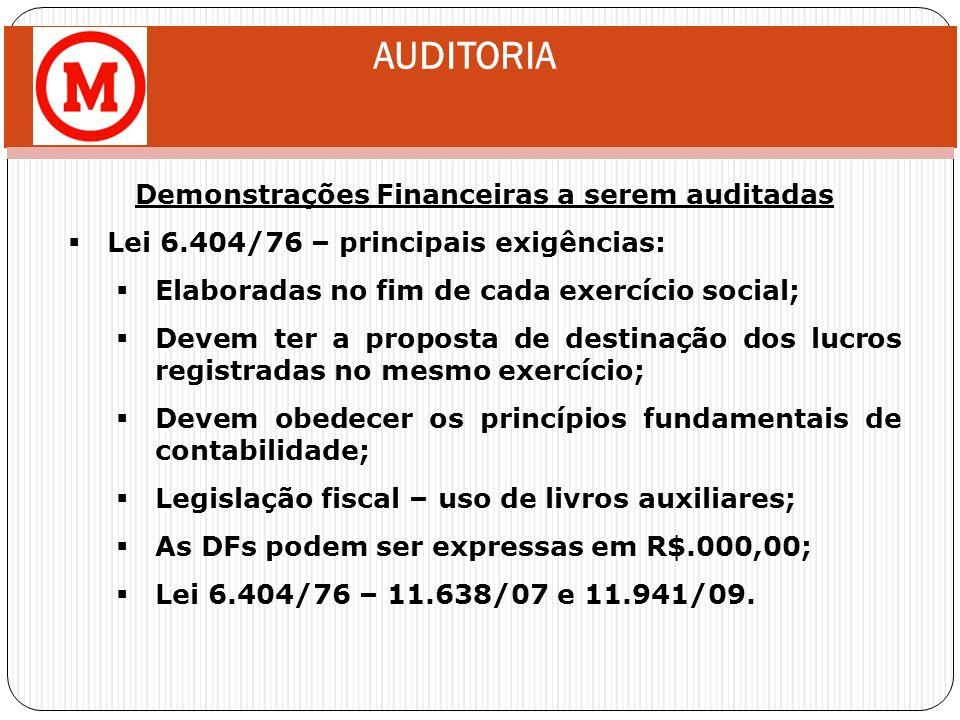AUDITORIA Demonstrações Financeiras a serem auditadas Lei 6.404/76 – principais exigências: Elaboradas no fim de cada exercício social; Devem ter a pr