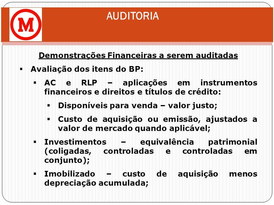 AUDITORIA Demonstrações Financeiras a serem auditadas Avaliação dos itens do BP: AC e RLP – aplicações em instrumentos financeiros e direitos e título