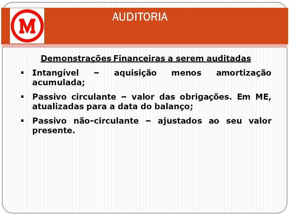 AUDITORIA Demonstrações Financeiras a serem auditadas Intangível – aquisição menos amortização acumulada; Passivo circulante – valor das obrigações. E