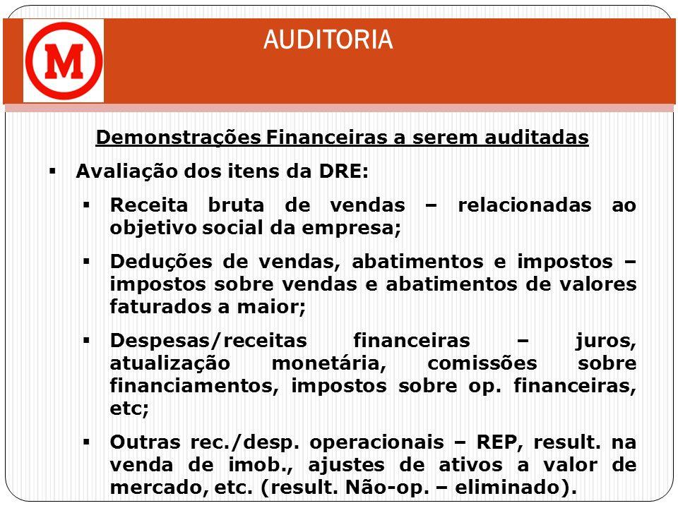 AUDITORIA Demonstrações Financeiras a serem auditadas Avaliação dos itens da DRE: Receita bruta de vendas – relacionadas ao objetivo social da empresa