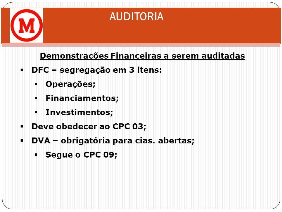 AUDITORIA Demonstrações Financeiras a serem auditadas DFC – segregação em 3 itens: Operações; Financiamentos; Investimentos; Deve obedecer ao CPC 03;
