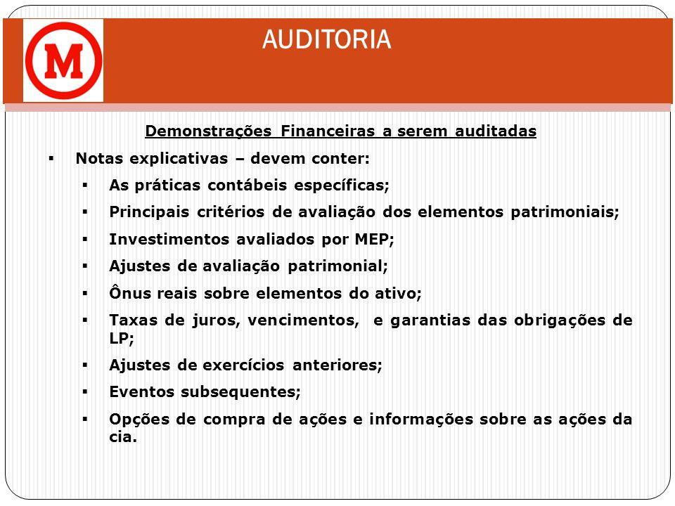 AUDITORIA Demonstrações Financeiras a serem auditadas Notas explicativas – devem conter: As práticas contábeis específicas; Principais critérios de av