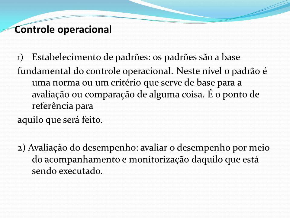 1) Estabelecimento de padrões: os padrões são a base fundamental do controle operacional. Neste nível o padrão é uma norma ou um critério que serve de