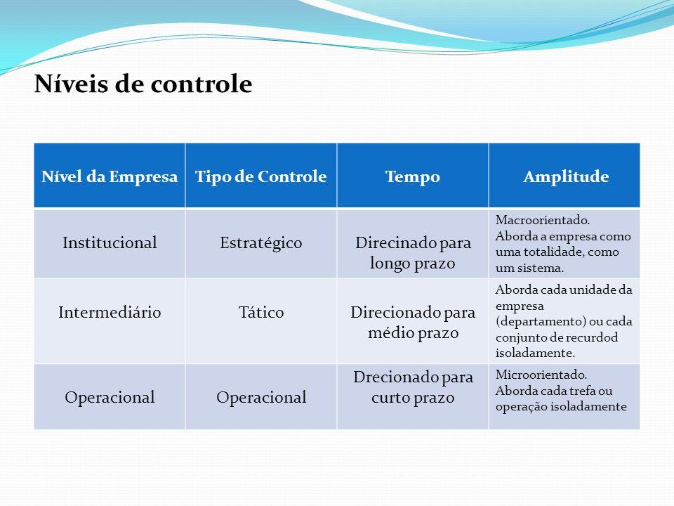 Níveis de controle Nível da EmpresaTipo de Controle Tempo Amplitude InstitucionalEstratégicoDirecinado para longo prazo Macroorientado. Aborda a empre