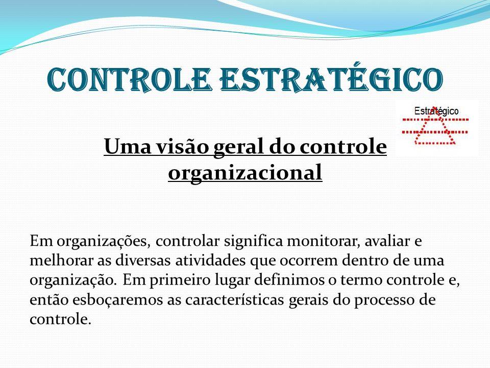 Controle estratégico Uma visão geral do controle organizacional Em organizações, controlar significa monitorar, avaliar e melhorar as diversas ativida